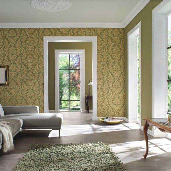 Trianon Baroque Green Gold Wallpaper 513646